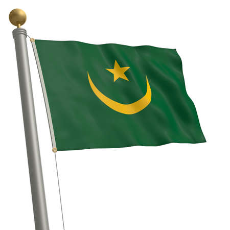 wafting: The flag of Mauritania fluttering on flagpole