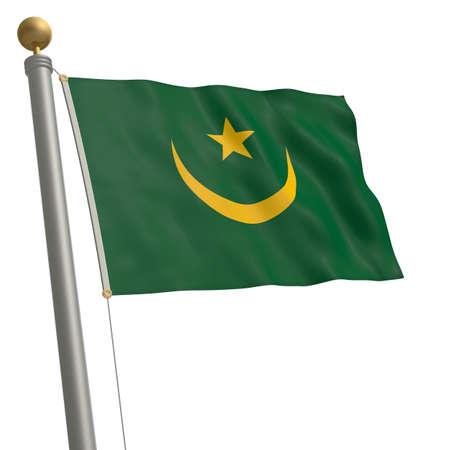 flagpole: The flag of Mauritania fluttering on flagpole