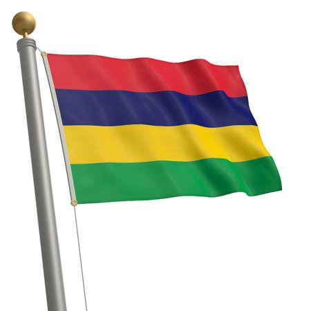 flagpole: The flag of Mauritius fluttering on flagpole