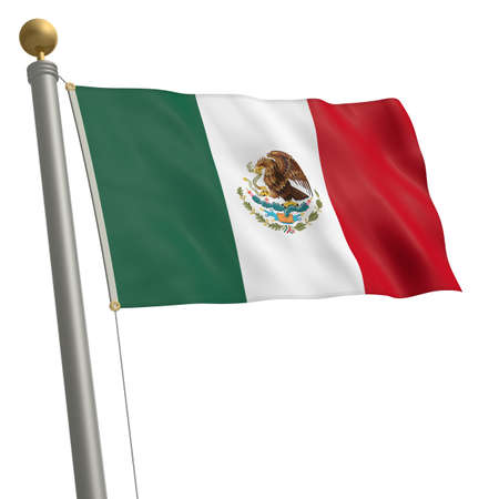 wafting: The flag of Mexico fluttering on flagpole