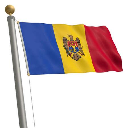 flagpole: The flag of Moldova fluttering on flagpole