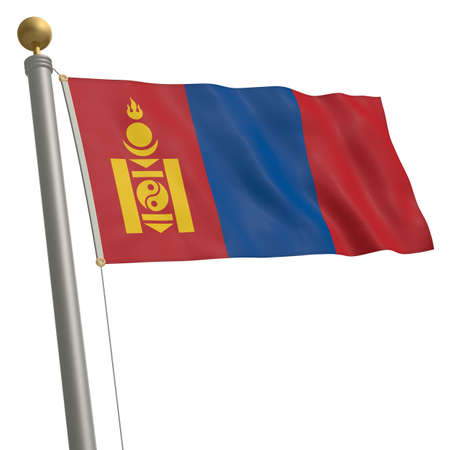flagpole: The flag of Mongolia fluttering on flagpole