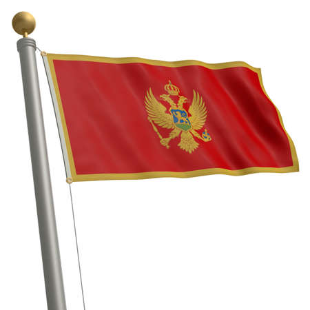 wafting: The flag of Montenegro fluttering on flagpole