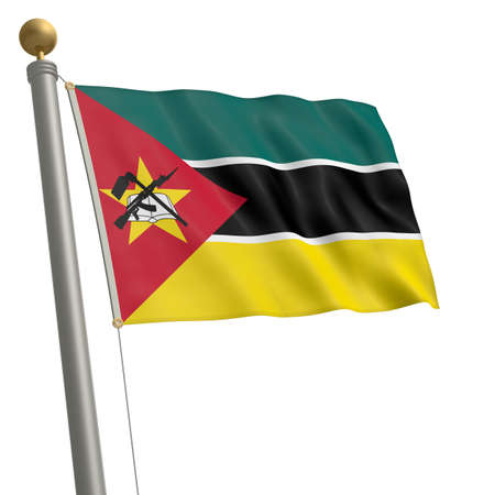 wafting: The flag of Mozambique fluttering on flagpole