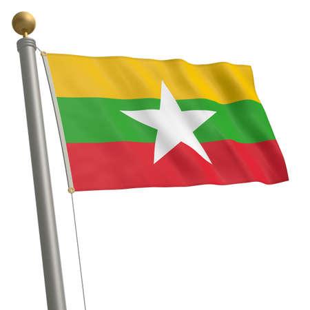 flagpole: The flag of Myanmar fluttering on flagpole Stock Photo
