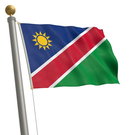 wafting: The flag of Namibia fluttering on flagpole