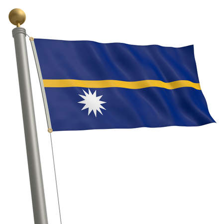 wafting: The flag of Nauru fluttering on flagpole Stock Photo