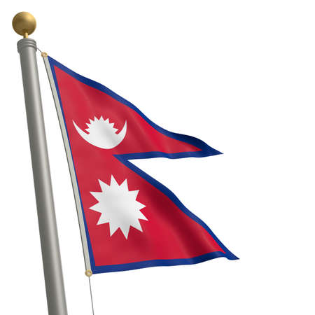 wafting: The flag of Nepal fluttering on flagpole