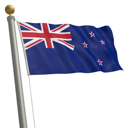 wafting: The flag of New Zealand fluttering on flagpole