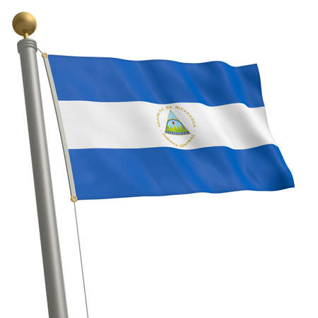 wafting: The flag of Nicaragua fluttering on flagpole Stock Photo