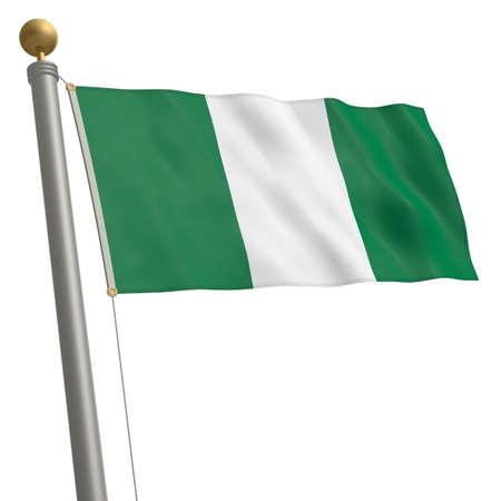 flagpole: The flag of Nigeria fluttering on flagpole Stock Photo