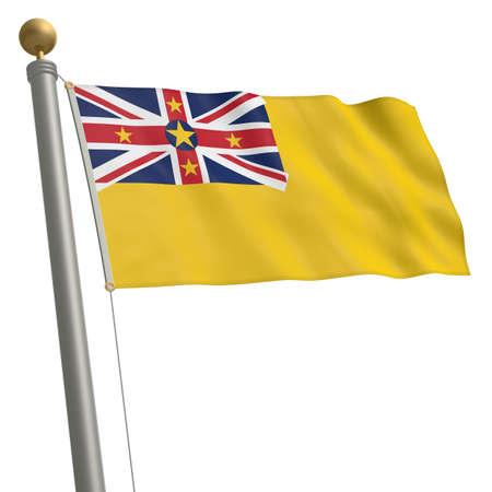 flagpole: The flag of Niue fluttering on flagpole Stock Photo