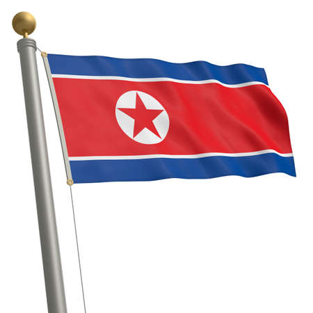 wafting: The flag of North Korea fluttering on flagpole