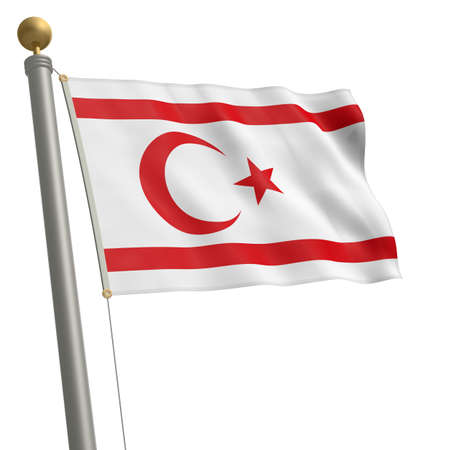 wafting: The flag of Northern Cyprus fluttering on flagpole Stock Photo