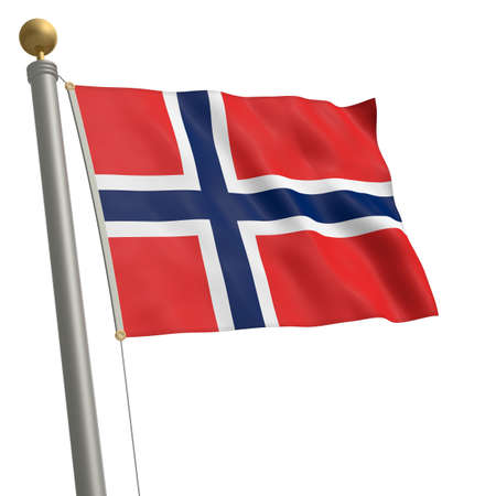 wafting: The flag of Norway fluttering on flagpole