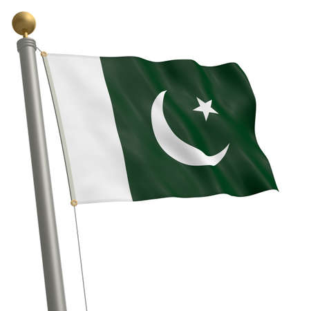 wafting: The flag of Pakistan fluttering on flagpole