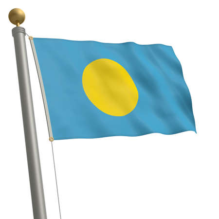 wafting: The flag of Palau fluttering on flagpole Stock Photo