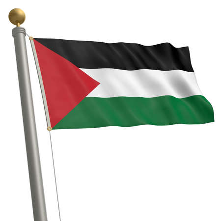 flagpole: The flag of Palestine fluttering on flagpole Stock Photo