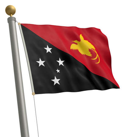 wafting: The flag of Papua New Guinea fluttering on flagpole Stock Photo
