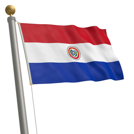 wafting: The flag of Paraguay fluttering on flagpole