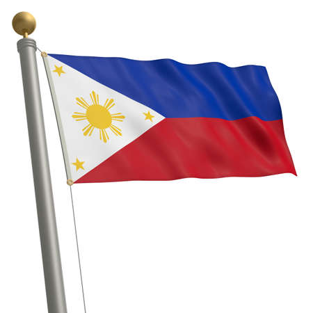philippines flag: The flag of Philippines fluttering on flagpole