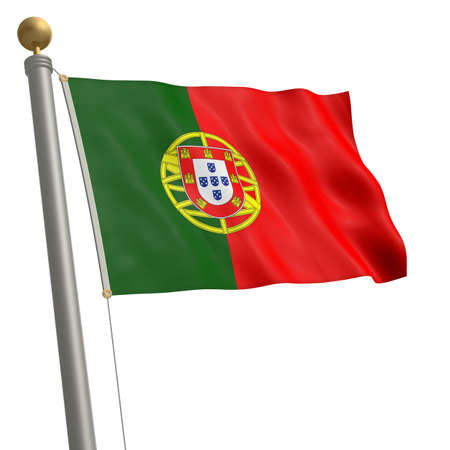 wafting: The flag of Portugal fluttering on flagpole