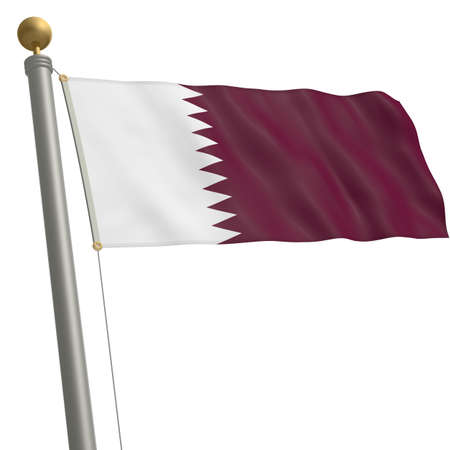 wafting: The flag of Qatar fluttering on flagpole