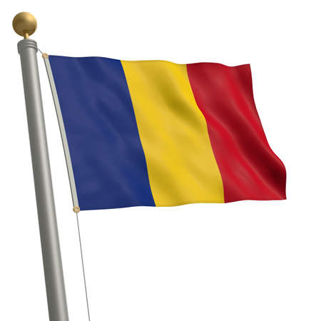 wafting: The flag of Romania fluttering on flagpole