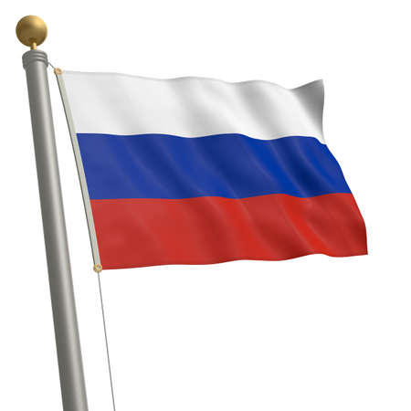 wafting: The flag of Russia fluttering on flagpole