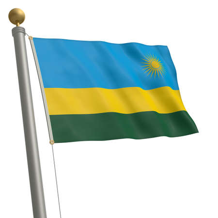 wafting: The flag of Rwanda fluttering on flagpole
