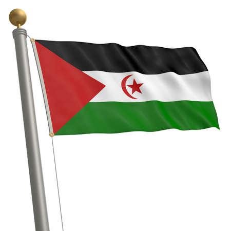 wafting: The flag of Sahrawi Arab Democratic Republic fluttering on flagpole