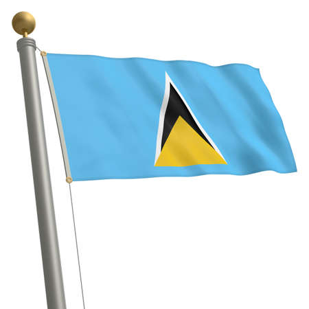 st lucia: The flag of Saint Lucia fluttering on flagpole Stock Photo