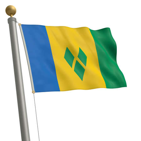 grenadines: The flag of Saint Vincent and the Grenadines fluttering on flagpole