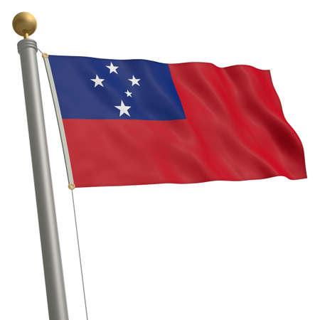wafting: The flag of Samoa fluttering on flagpole Stock Photo