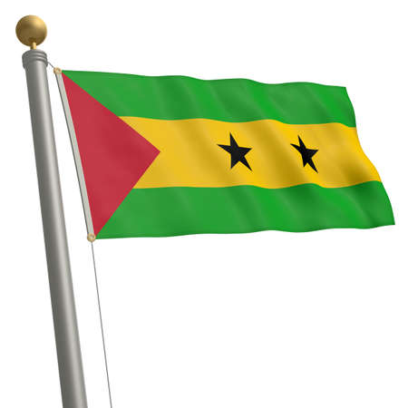 flagpole: The flag of Sao Tome and Principe fluttering on flagpole