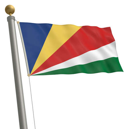 wafting: The flag of Seychelles fluttering on flagpole Stock Photo
