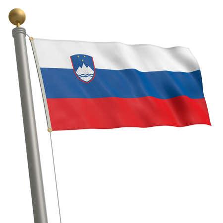 flagpole: The flag of Slovenia fluttering on flagpole Stock Photo