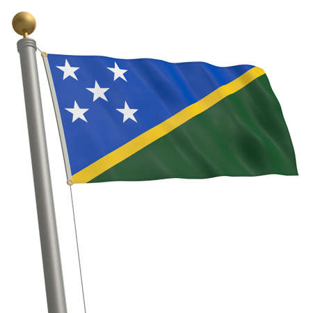 wafting: The flag of Solomon Islands fluttering on flagpole