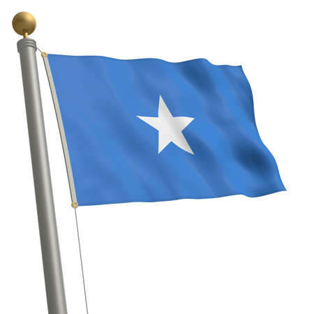 wafting: The flag of Somalia fluttering on flagpole