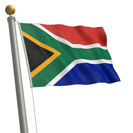 wafting: The flag of South Africa fluttering on flagpole Stock Photo