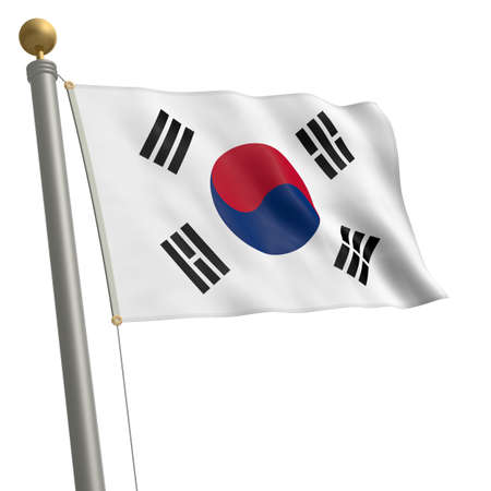 wafting: The flag of South Korea fluttering on flagpole
