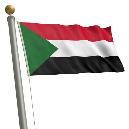 wafting: The flag of Sudan fluttering on flagpole