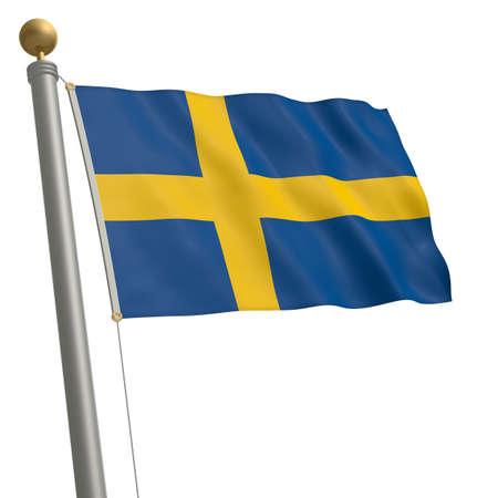 flagpole: The flag of Sweden fluttering on flagpole
