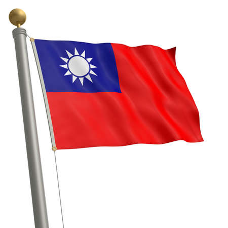 wafting: The flag of Taiwan fluttering on flagpole Stock Photo