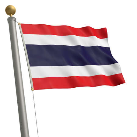 wafting: The flag of Thailand fluttering on flagpole
