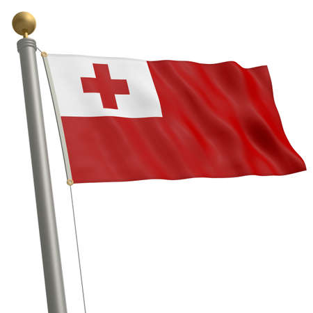 wafting: The flag of Tonga fluttering on flagpole