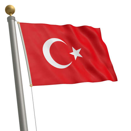wafting: The flag of Turkey fluttering on flagpole