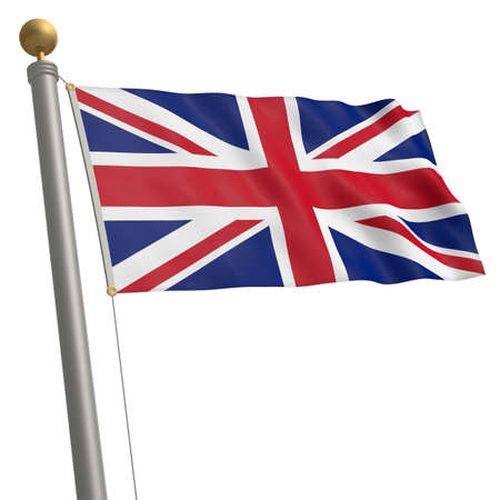 wafting: The flag of United Kingdom fluttering on flagpole