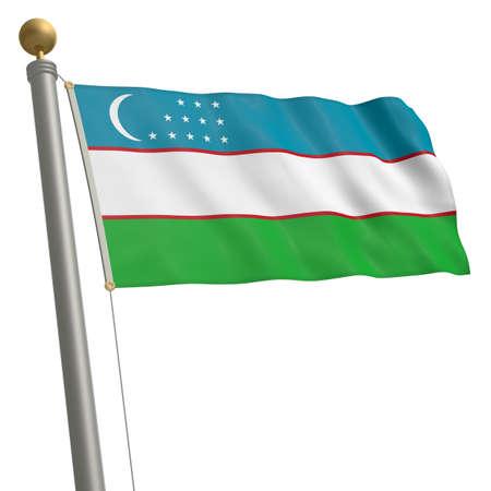 wafting: The flag of Uzbekistan fluttering on flagpole