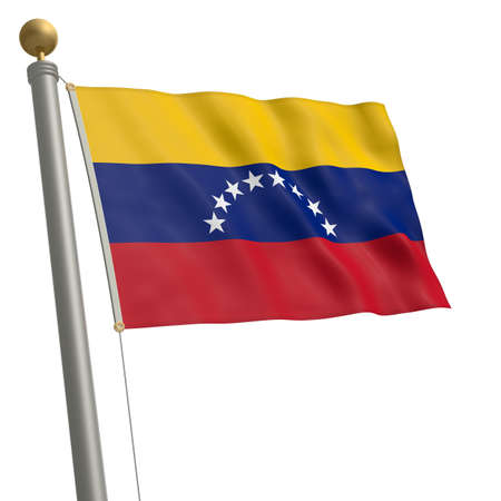 wafting: The flag of Venezuela fluttering on flagpole